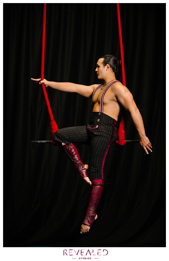 circus photography with rose duo